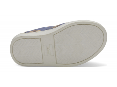 TOMS Snow White Printed Canvas Kid's Luca Slipon Blue