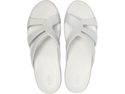 Crocs™ Sanrah Strappy Wedge Silver/Pearl White