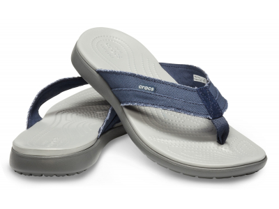 Crocs™ Santa Cruz Canvas Flip Men's Navy/Light Grey