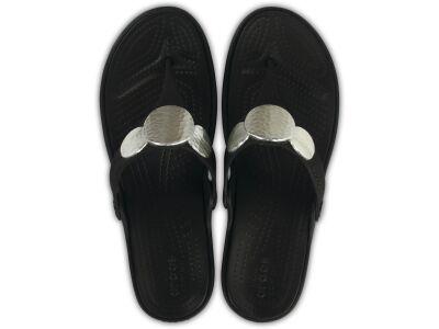 Crocs™ SANRAH EMBELLISHED WEDGE FLIP Black/Silver Metallic