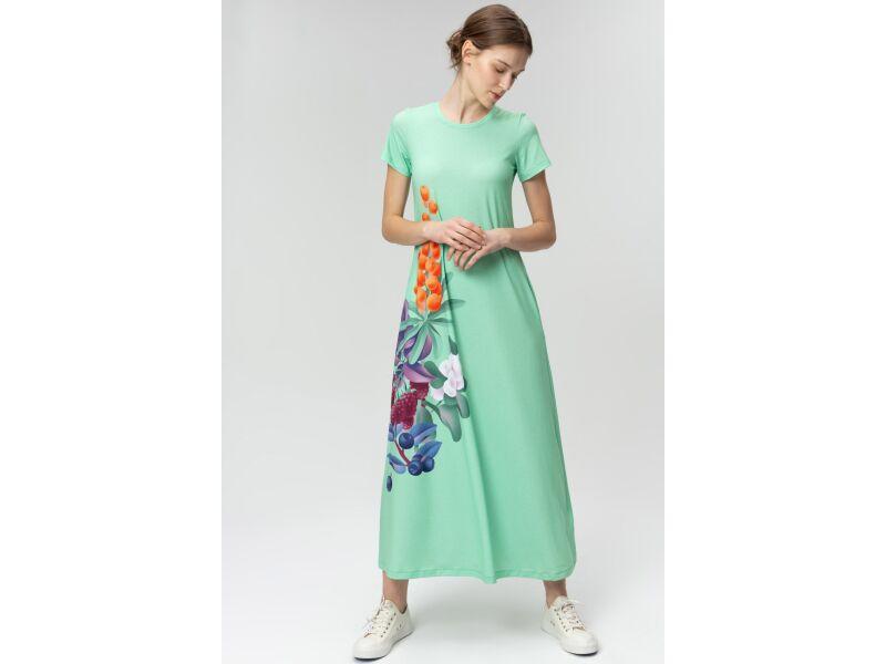 AUDIMAS Ilga tampri marginta suknelė 20FL-007 Mint Garden