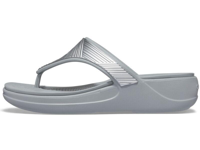 Crocs™ Monterey Metallic Wedge Flip Silver