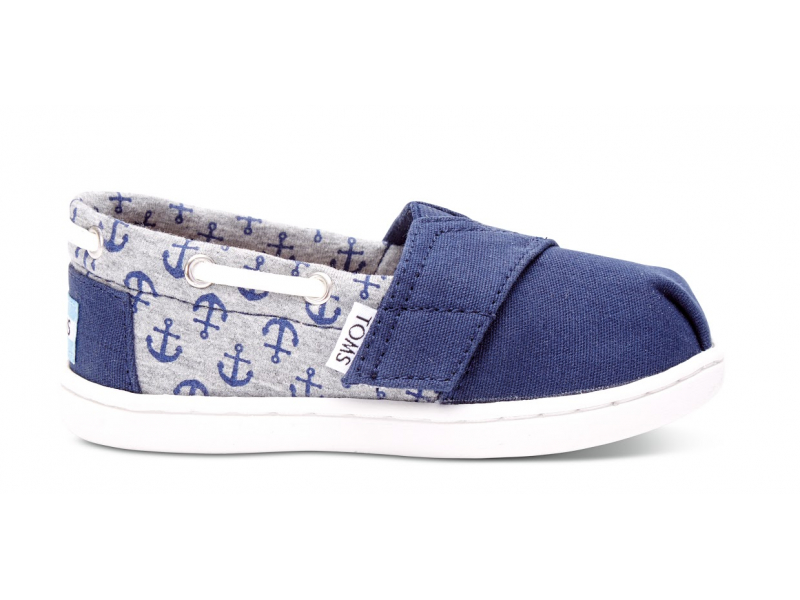 TOMS Canvas Jersey Anchor Kid's Bimini Espadrille Navy