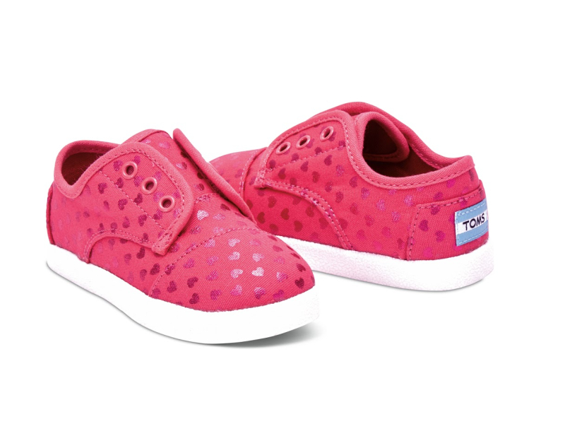 TOMS Canvas Hearts Kid's Paseo Sneaker Pink