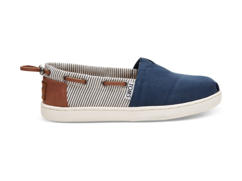 TOMS Canvas Stripes Junior's Bimini Navy