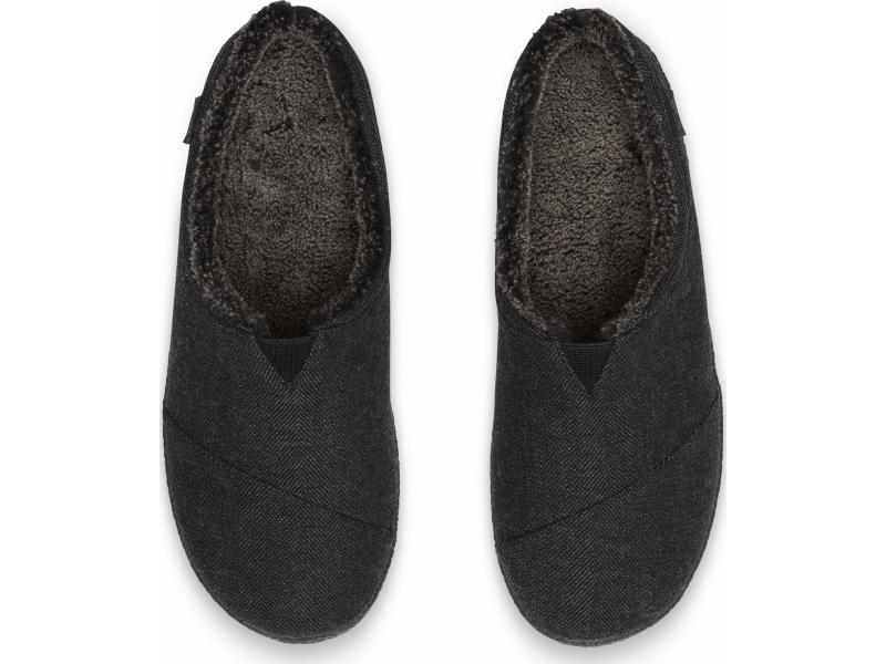 TOMS Herringbone Woolen Men'S Berkeley Slipper Black