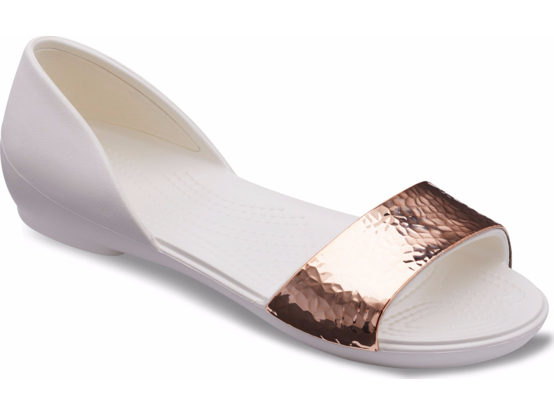 Crocs™ Lina Dorsay Hammered Metallic Flat Oyster/Rose Gold