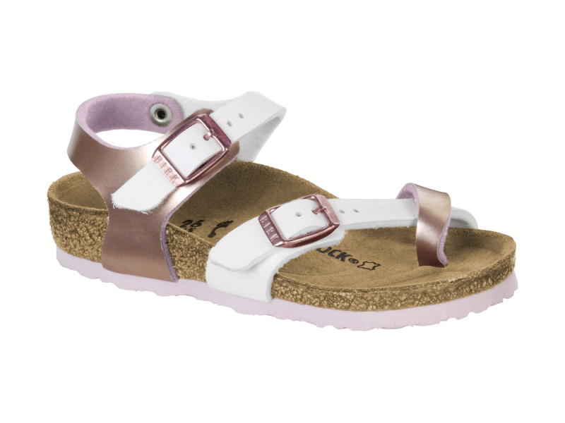 Birkenstock Taormina Kids Metallic Soft Metallics Rose White