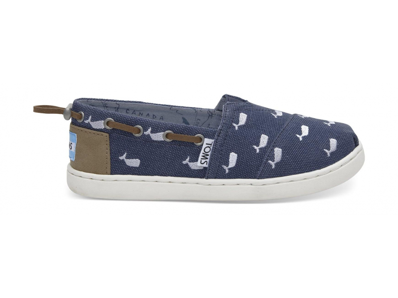 TOMS Washed Canvas Junior's Bimini Embroidered Whale