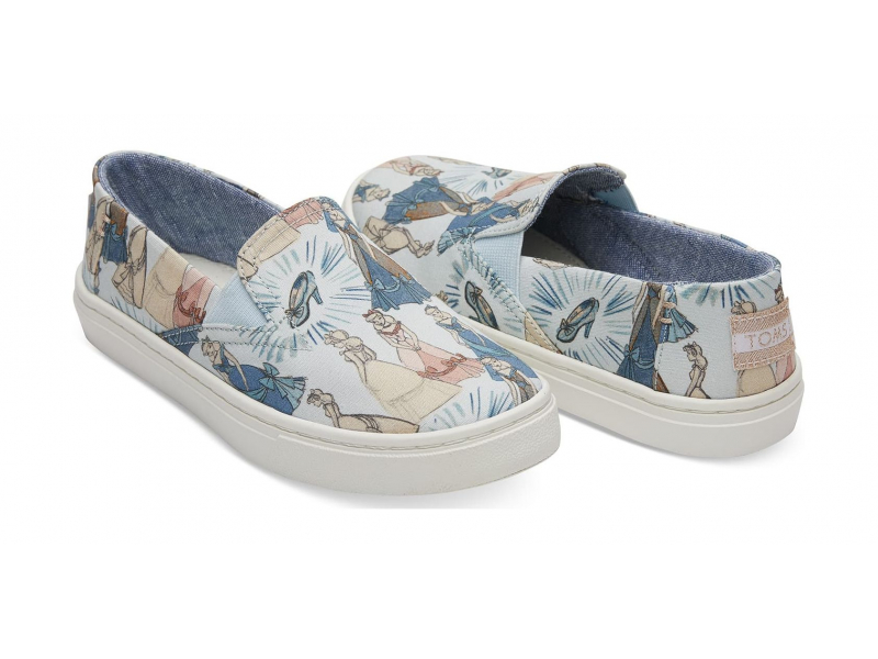 TOMS Cinderella Canvas Junior's Luca Slipon Blue