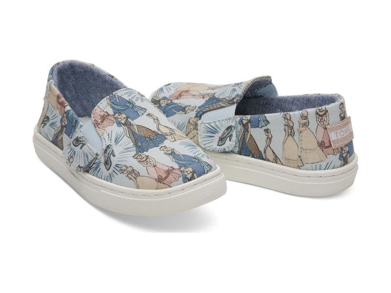 TOMS Cinderella Printed Canvas Kid's Luca Slipon Blue