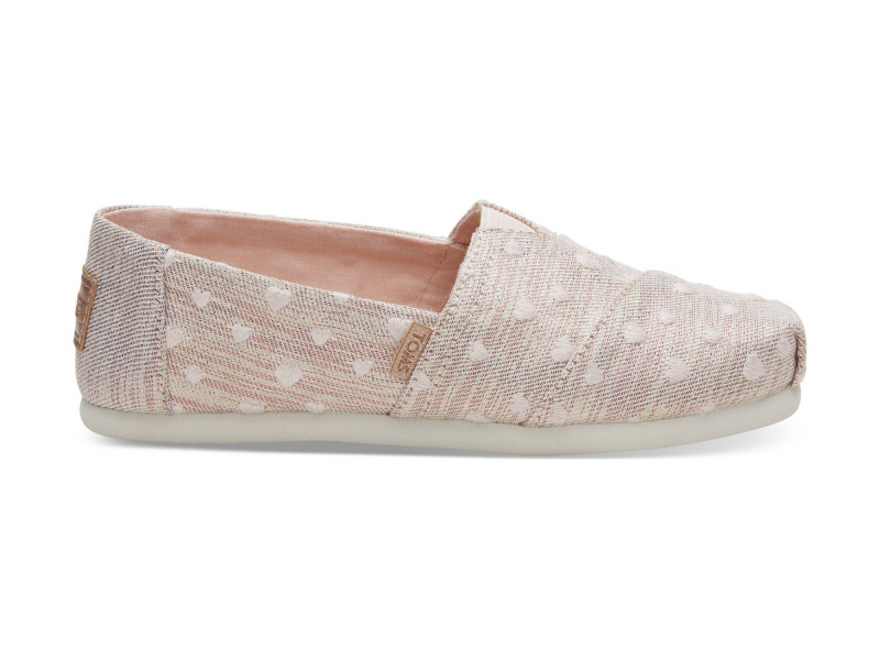 TOMS Twill Glimmer Embroidery Junior's Alpargata Rose Cloud