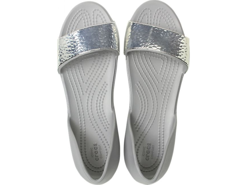 Crocs™ Lina Embellish Dorsay Flat Silver/Silver