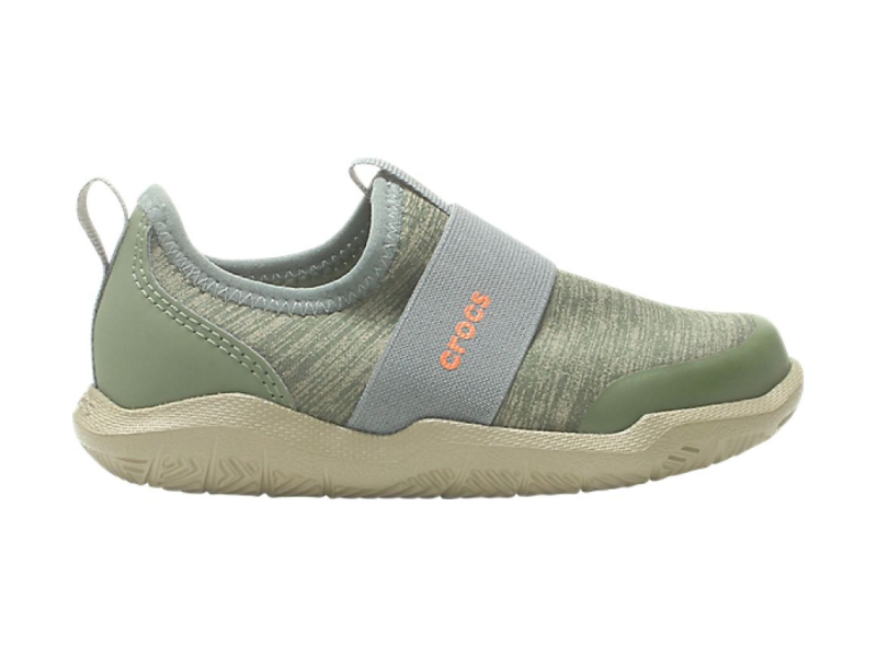 Crocs™ Kids' Swiftwater Easy-On Heathered Shoe Army Green