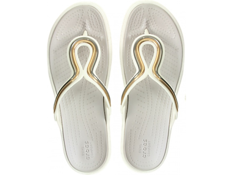 Crocs™ Sanrah Metal Block Flat Flip Women's Multi Rose Gold/Oyster