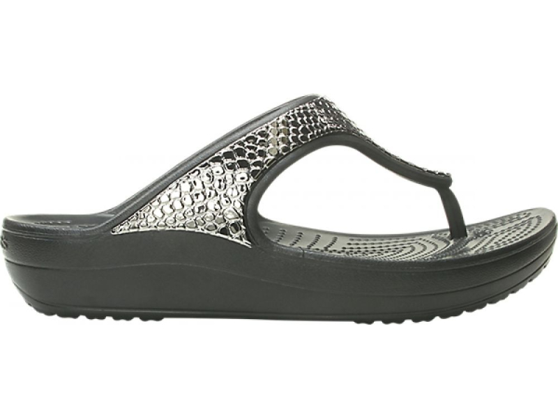 Crocs™ Sloane Metal Txt Flip Women's Gunmetal/Black