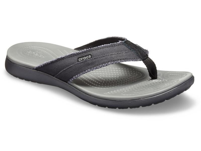 Crocs™ Santa Cruz Canvas Flip Men's Black/Slate Grey