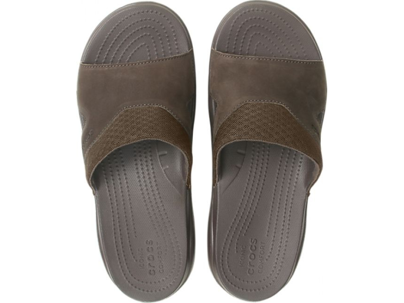 Crocs™ Swiftwater Leather Slide Men's Espresso/Espresso