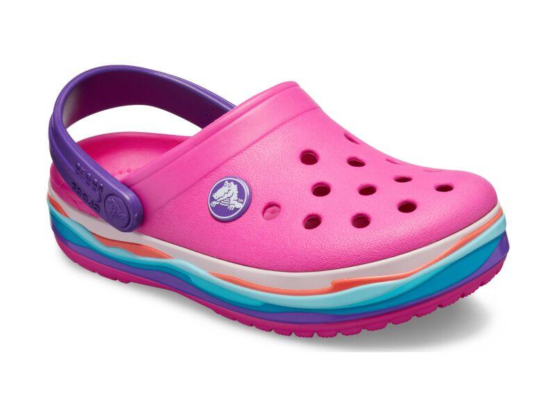 Crocs™ Crocband Wavy Band Clog Kid's Neon Magenta