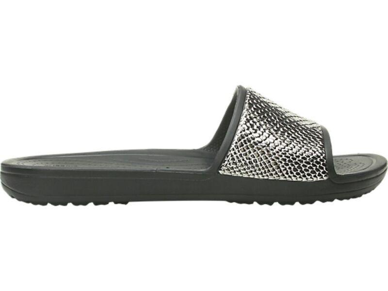 Crocs™ Sloane Metal Text Slide Women's Gunmetal/Black