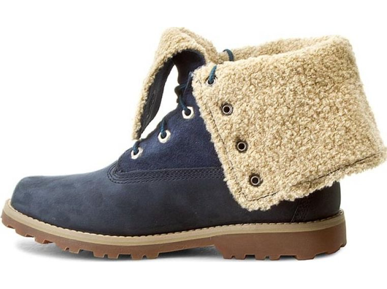 Timberland 6 In Faux Shearling Boot Junior's Medium Blue Nubuck