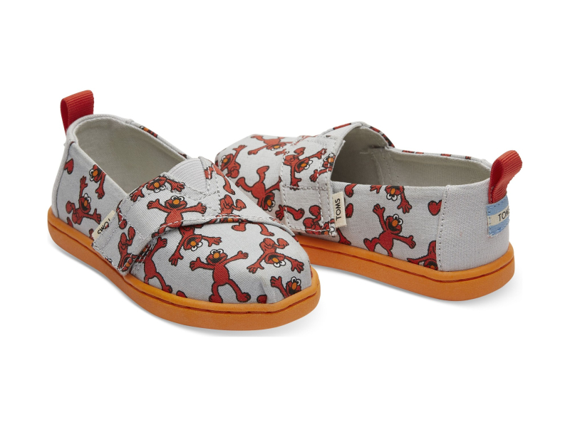 TOMS Elmo Printed Canvas Kid's Alpargata Light Grey