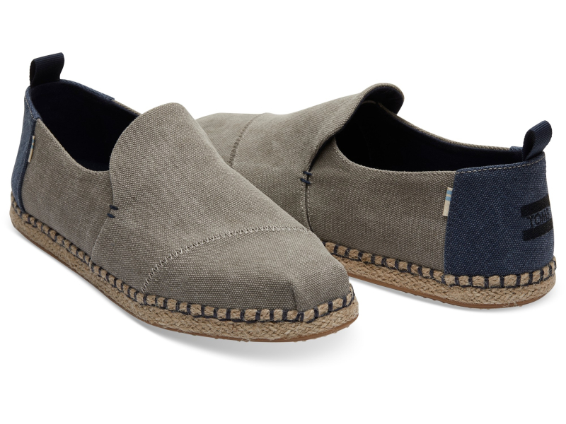TOMS Washed Canvas Men's Deconstructed Alpargata Rope Drizzle Grey