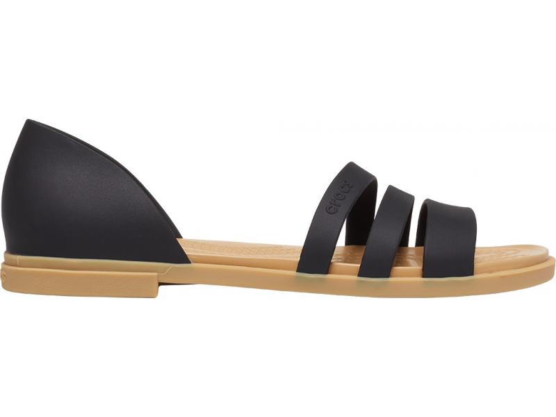 Crocs™ Tulum Open Flat Womens Black/Tan