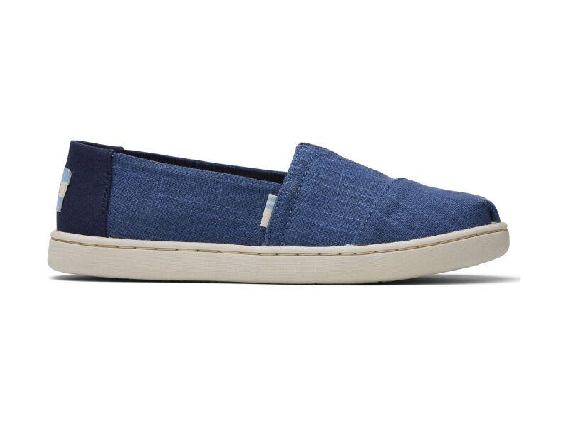 TOMS Crosshatch Linen Junior's Alpargata Blue