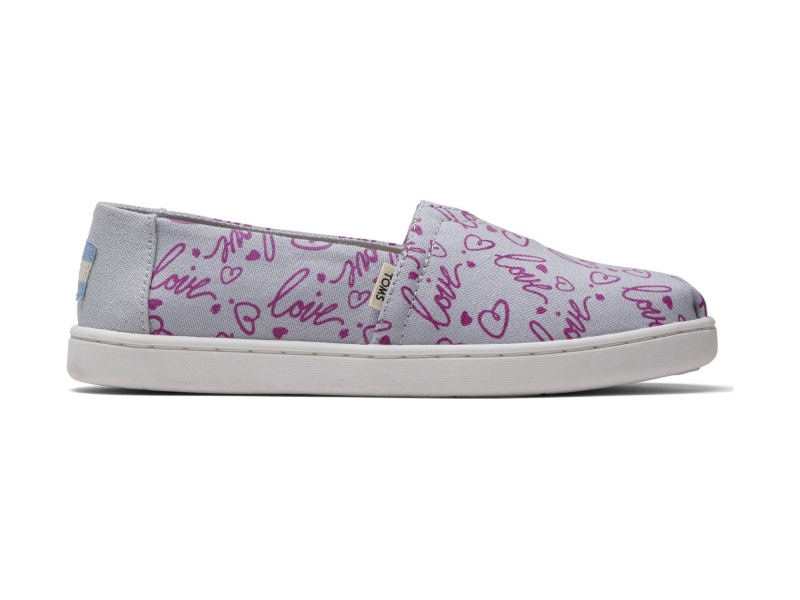 TOMS Love Print Junior's Alpargata Grey