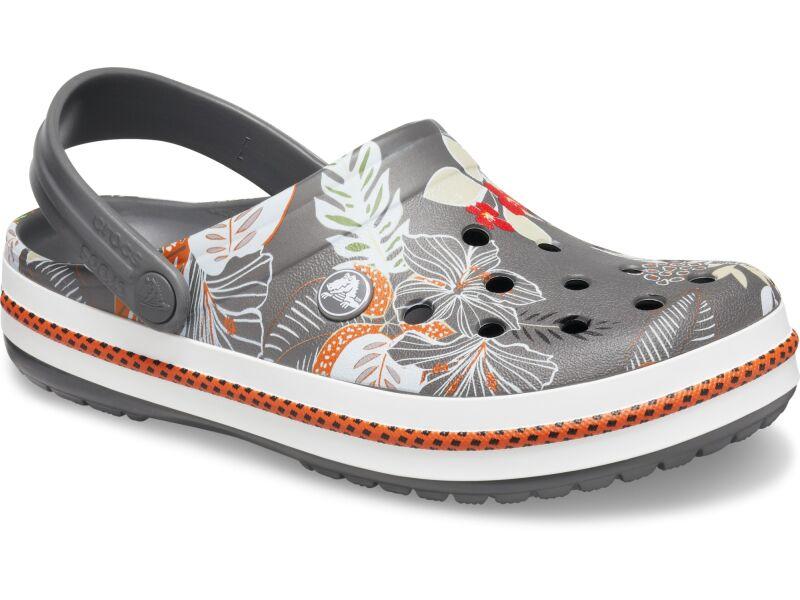 Crocs™ Crocband Botanical Print Clog Slate Grey/White