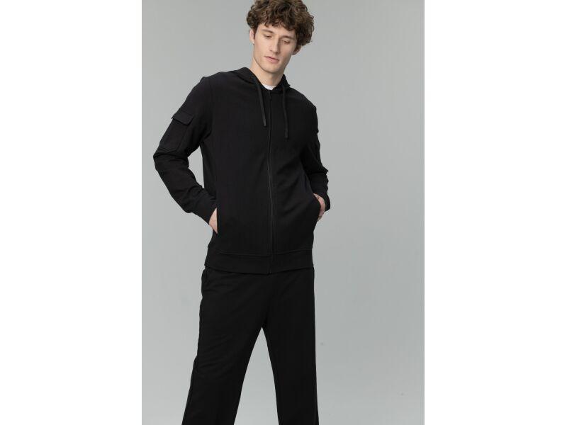 AUDIMAS Elastīgs, pagarināts kokvilnas vīriešu džemperis ar kapuci Black