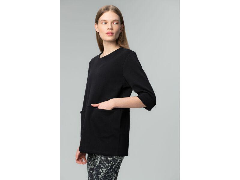 AUDIMAS Taisna silueta, pagarināts sieviešu džemperis ar 3/4 garuma piedurknēm Black