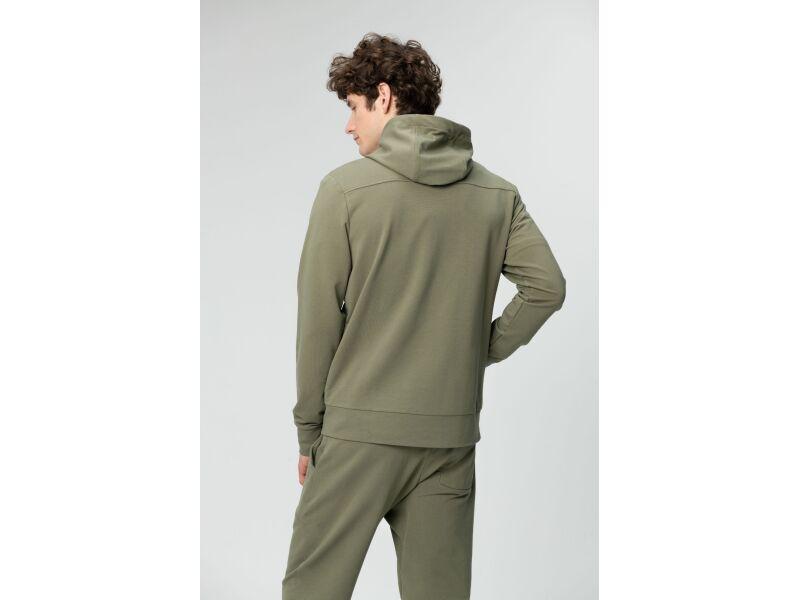 AUDIMAS Mīksts frotē kokvilnas džemperis vīriešiem ar kapuci Deep Lichen Green
