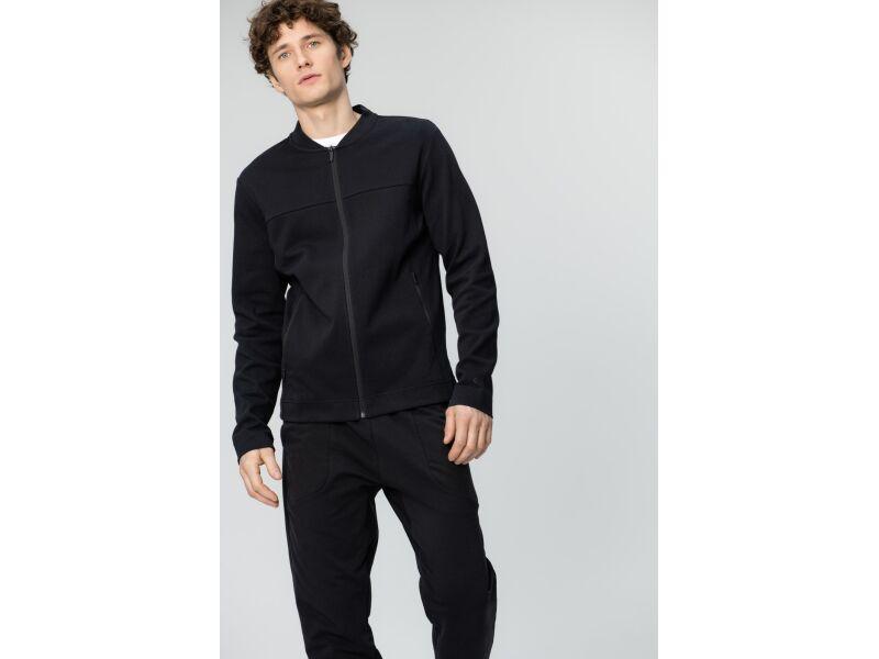 AUDIMAS Vīriešu kokvilnas džemperis ar rāvējslēdzēju Black