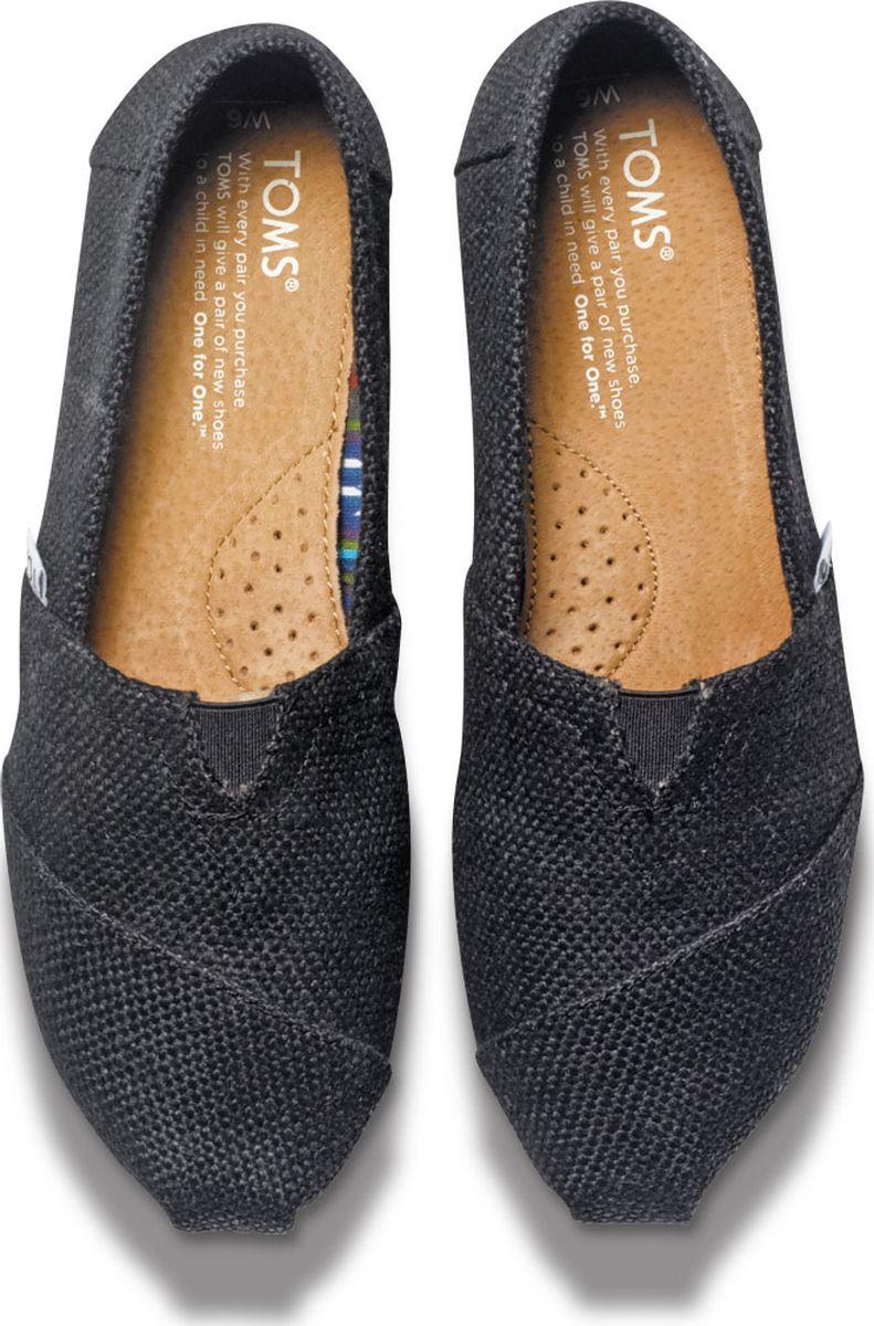 TOMS Womens Classics Black Burlap 39 gdhbwpiHC