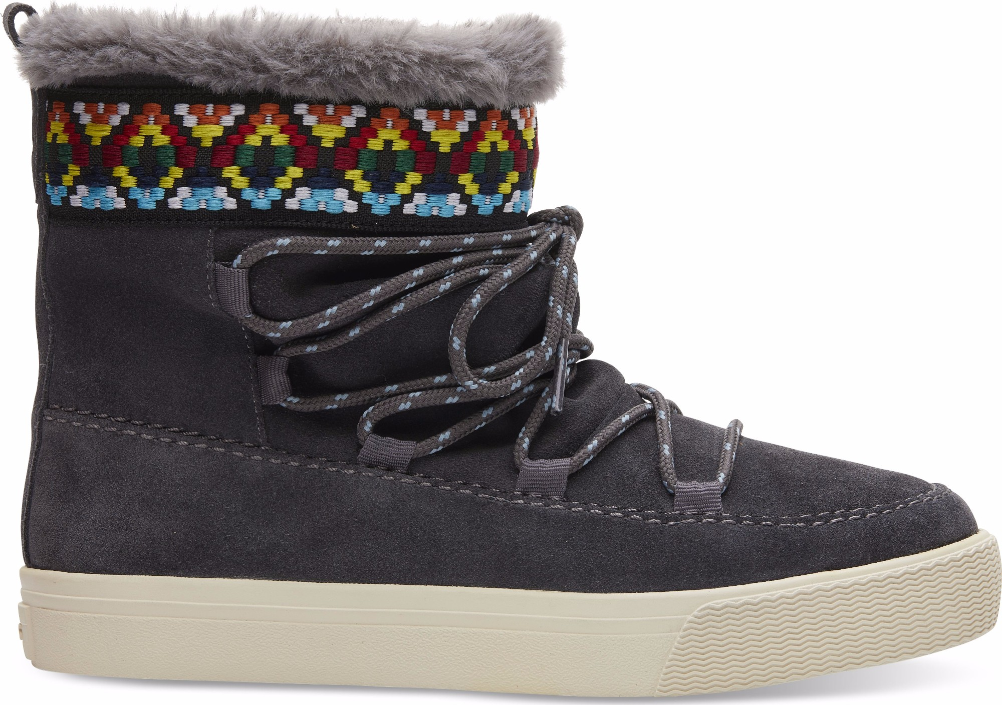 9648f8d69f5 Previous. TOMS Suede Tribal Webbing Women S Alpine Boot Forged Iron Grey ...
