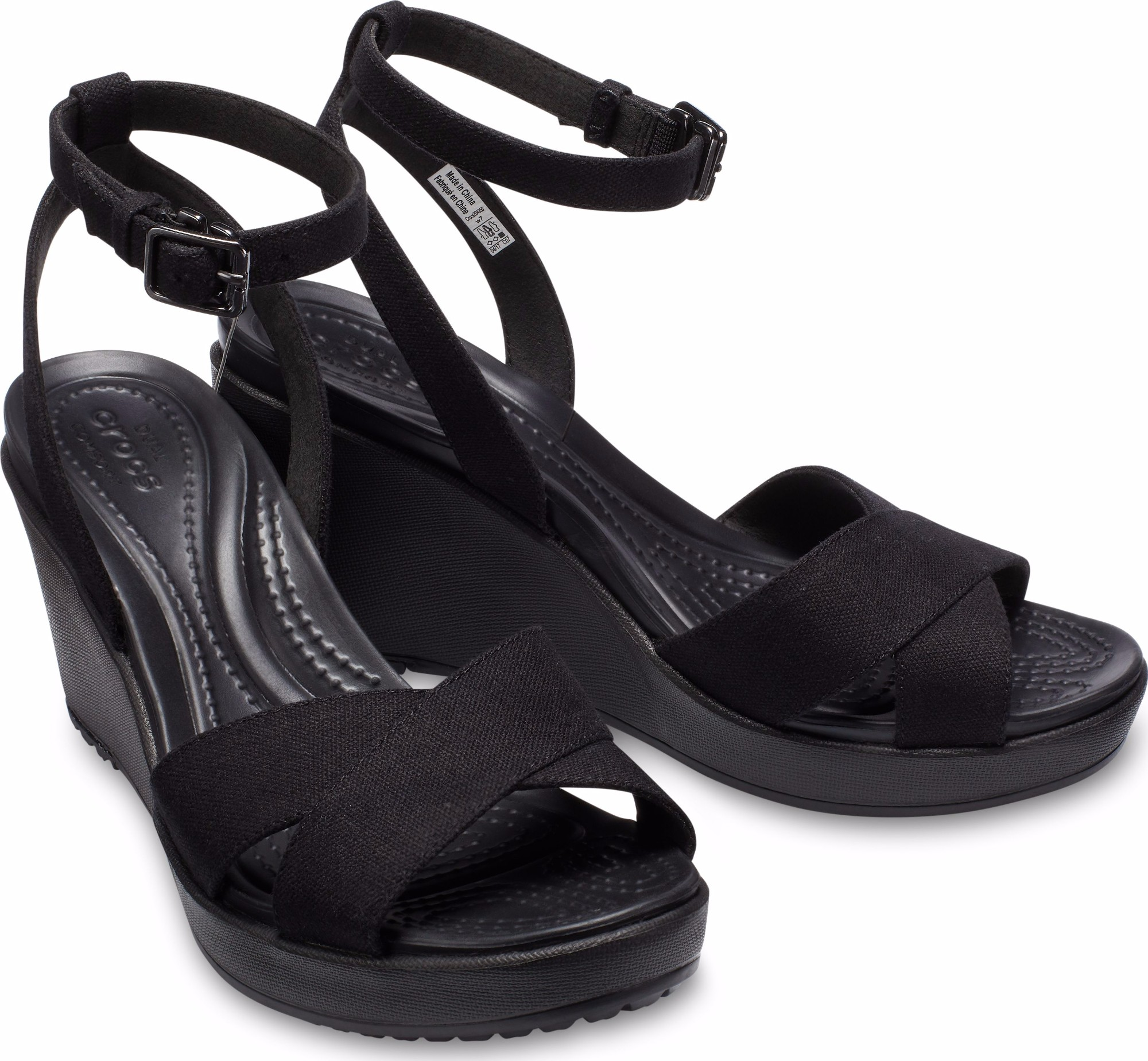321437d2f6d5ef ... Crocs™ Women s Leigh II Ankle Strap Wedge Black Black ...