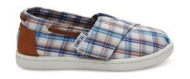 TOMS Woven Plaid Kid's Bimini Espadrille Blue Multi