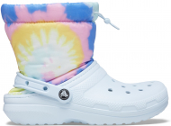 Crocs™ Classic Lined Neo Puff Tie Dye Boot Mineral Blue
