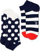 Happy Socks 2-Pack Big Dot Stripe Low Sock Multi 6500